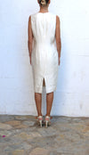 ZANG TOI White Cocktail Dress with Feathers Size 10