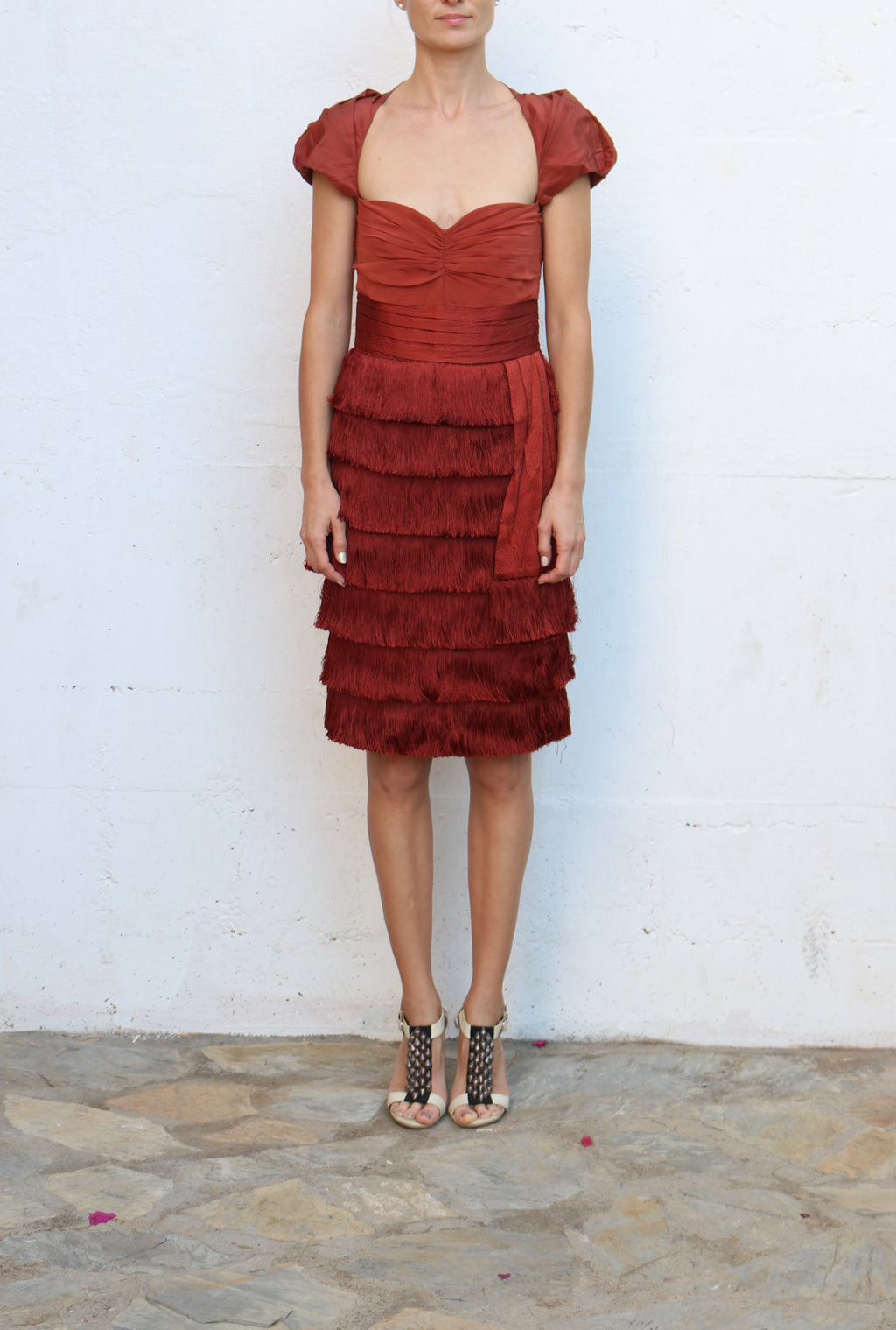 ZAC POSEN Copper Mini Cocktail Dress Tiered Fringes Size 6