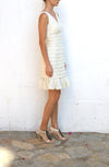 JS COLLECTION White Tiered Cocktail Dress Size 6