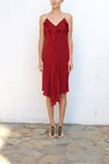 VIKTOR & ROLF Wine Red Pearl Straps Cocktail Dress Size 44