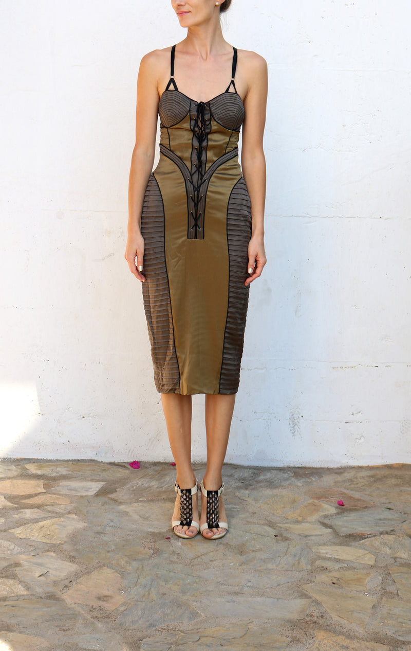PROENZA SCHOULER Charcoal Lace Up Dress Size 4
