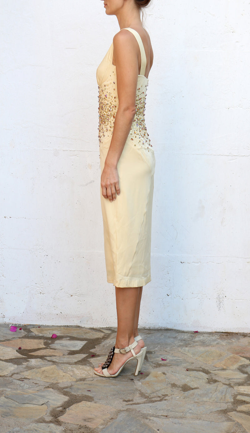 ANDY THE ANH Cream Midi Dress with Beads Size 4