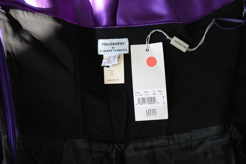 ALBERTA FERRETTI Purple Bow Cocktail Dress Size 4
