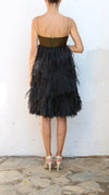 ANGEL SANCHEZ Olive Green Black Fringes Mini Dress Size 10