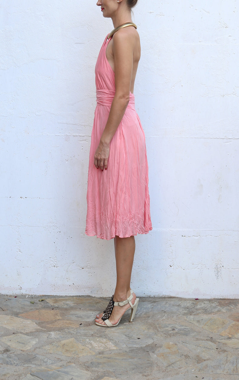 MICHAEL KORS Pink Guava Halter Evening Dress Size 8