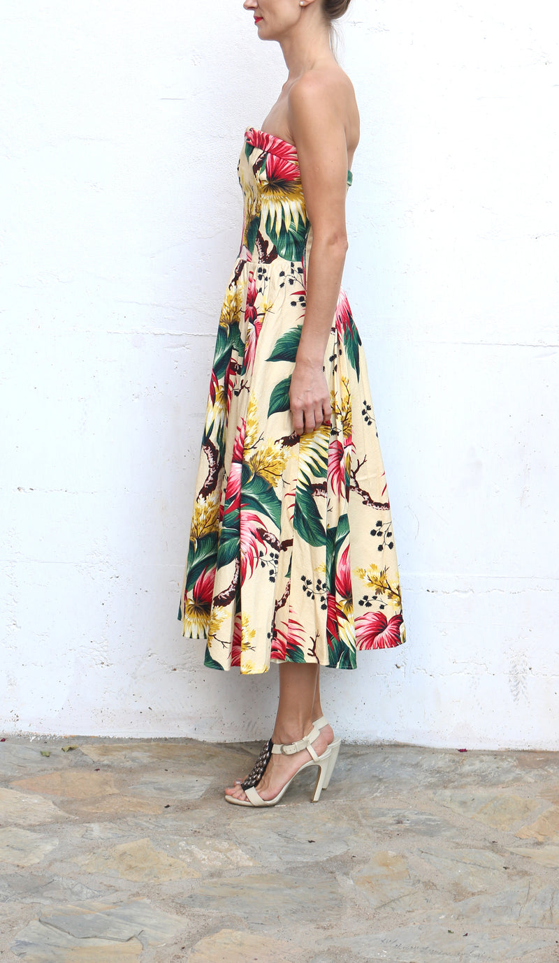 DSQUARED Yellow Floral Strapless Midi Dress Size 40