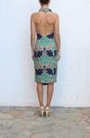 STELLA MCCARTNEY Green Multi Floral Halter Evening Dress Size 40