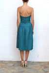 MONIQUE LHUILLIER Blue Strapless Evening Dress Size 4