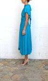 MARC BOUWER Blue Uneven Midi Dress Size 6