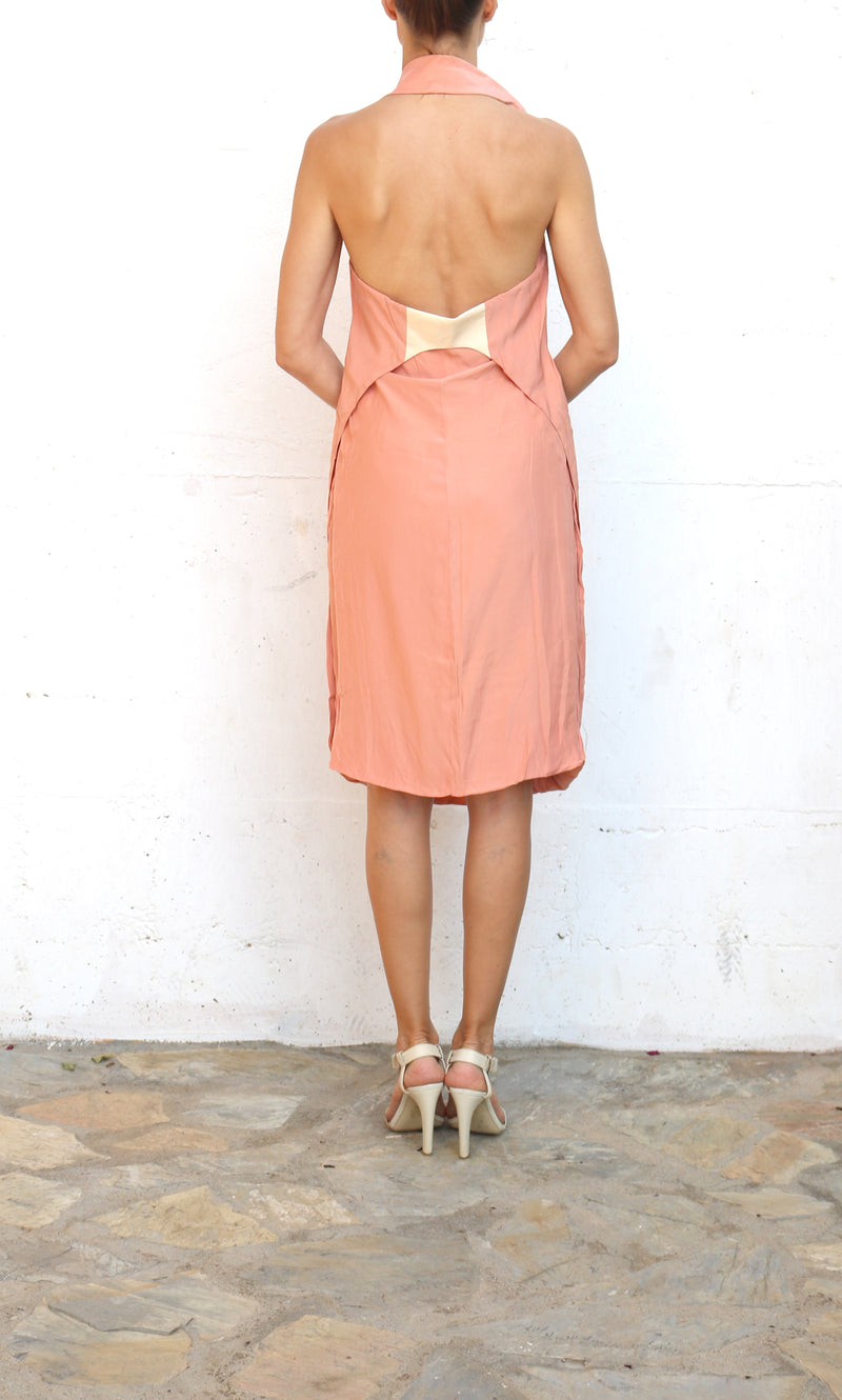 HUSSEIN CHALAYAN Salmon Nude Evening Dress Size 44