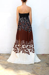 DSQUARED Black Brown Cream Floral Evening Gown Size 40