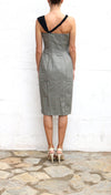 GIANNI VERSACE Couture Grey Black Bust Pencil Dress Size 40