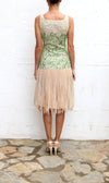 DOUGLAS HANNANT Green Blush Tulle Skirt Cocktail Dress Size 4