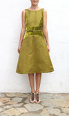 BILL BLASS Mustard Green Chartreuse Scarlett Dress Size 4