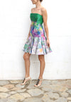 ERDEM Freija Dress Green Silk Satin Size 8