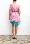 KATHY RODRIGUEZ Reserruction Floral Pink Green Cocktail Dress Size 2
