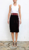 BILL BLASS Burgundy Velvet Pencil Skirts Size 4