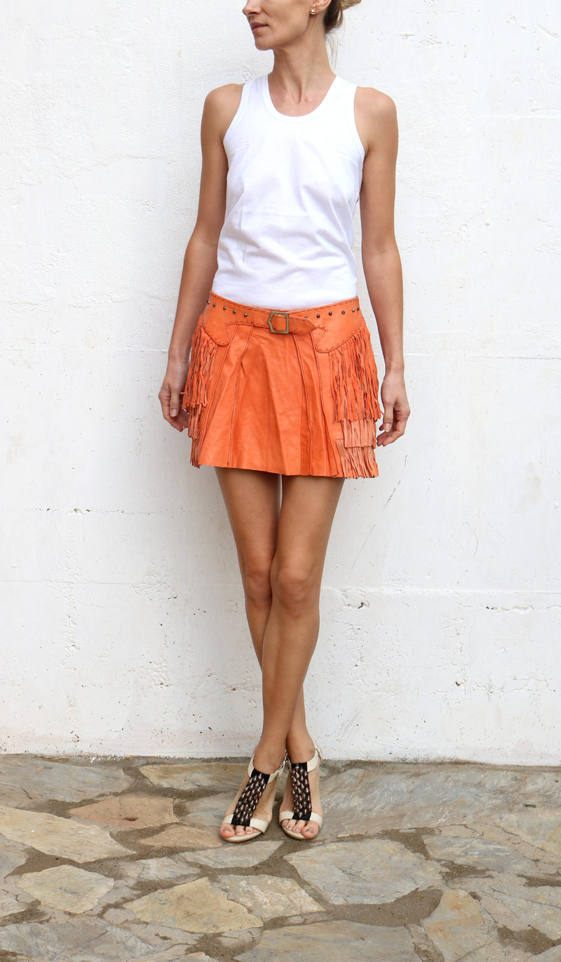 BLEON Orange Leather Skirt with Fringes Size 42