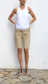 ICEBERG  real Suede Cream Evening Shorts Size 42 IT