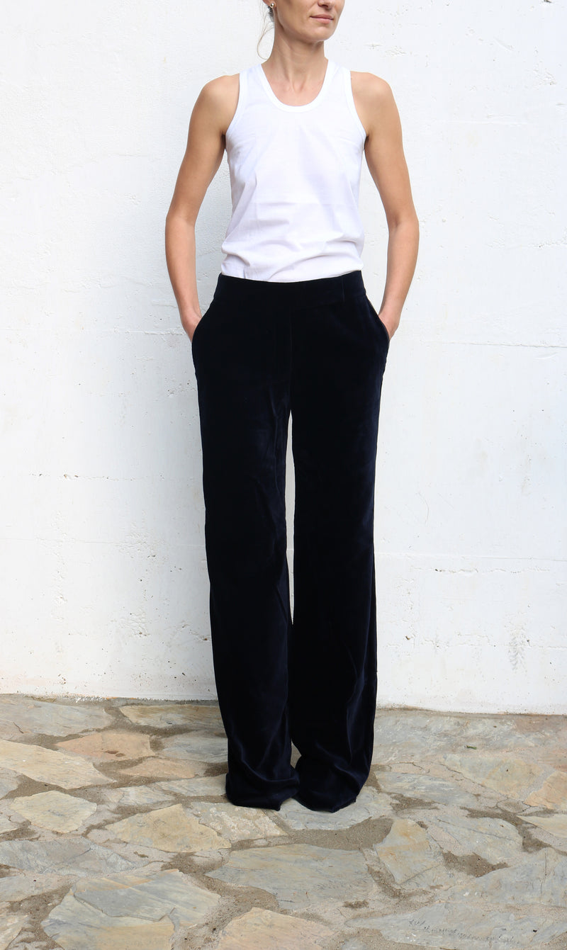 PETER SOM Dark Navy Velvet Pants Size 4