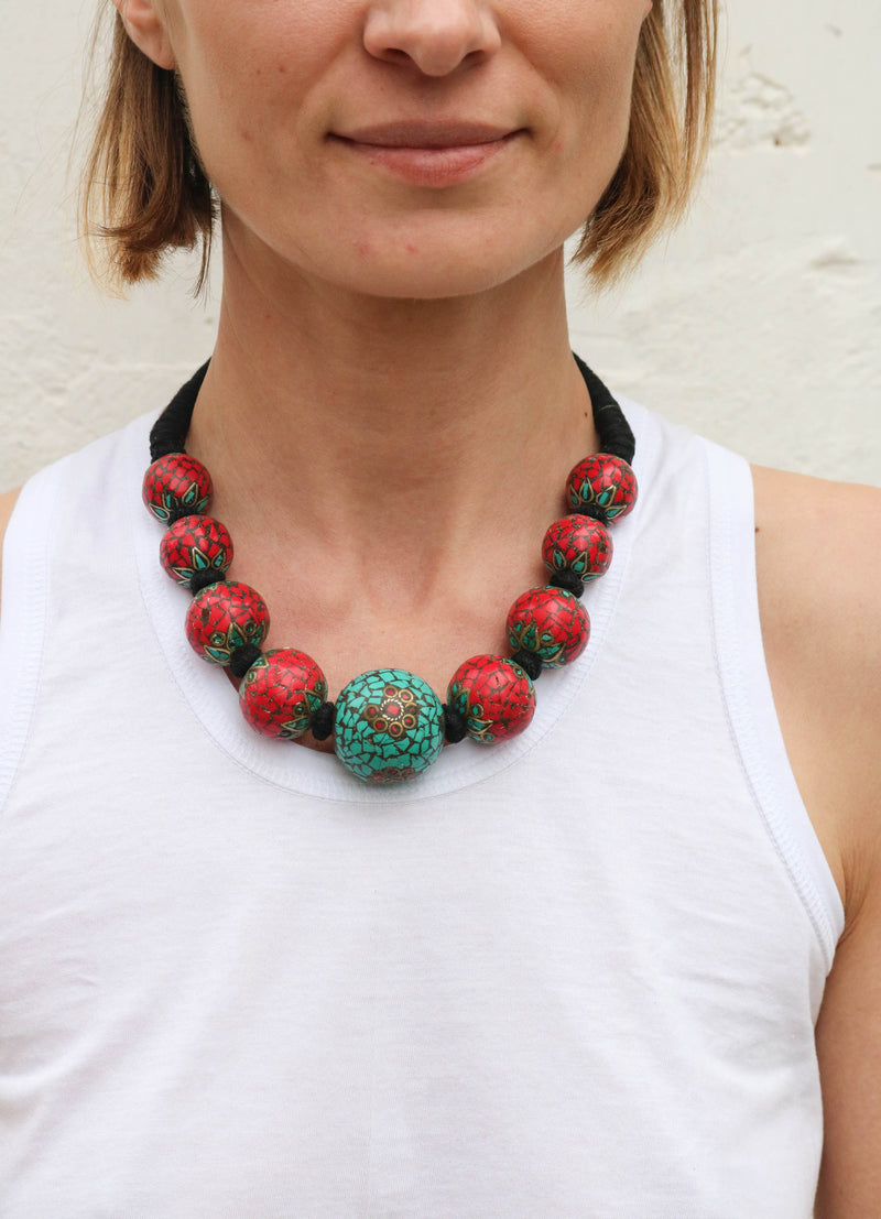 Fanm Mon Handmade Turquoise Red Stone Jewelry #20