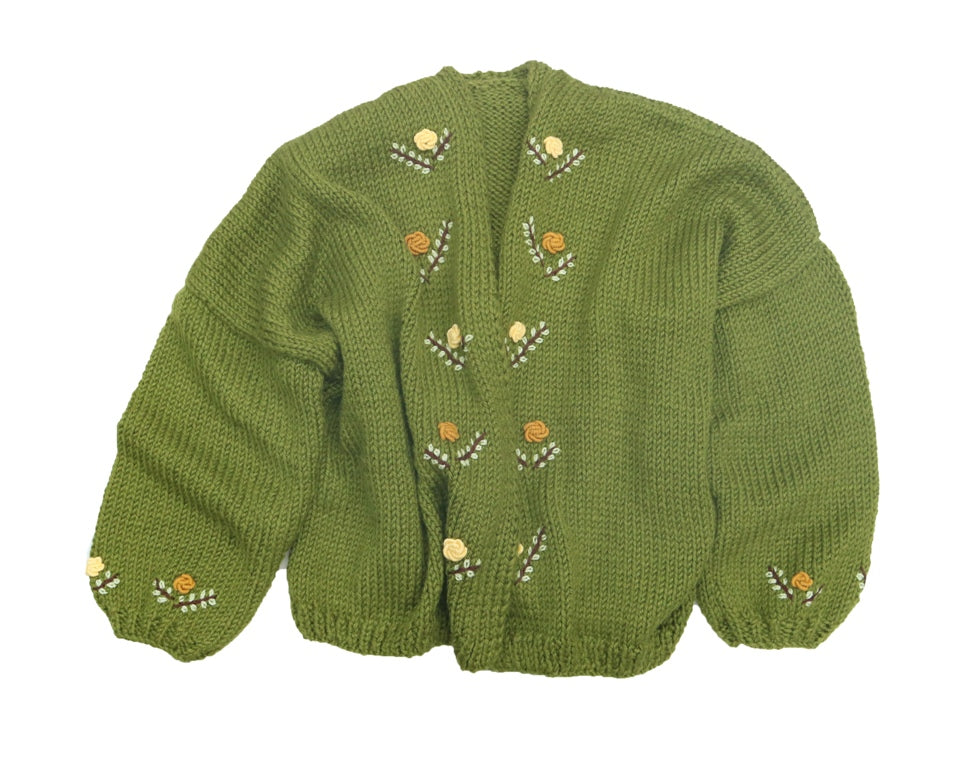 Fanm Mon DANDI Wool Blend Winter/Autumn Cardigan with Orange Yellow Grey Brown Embroidery