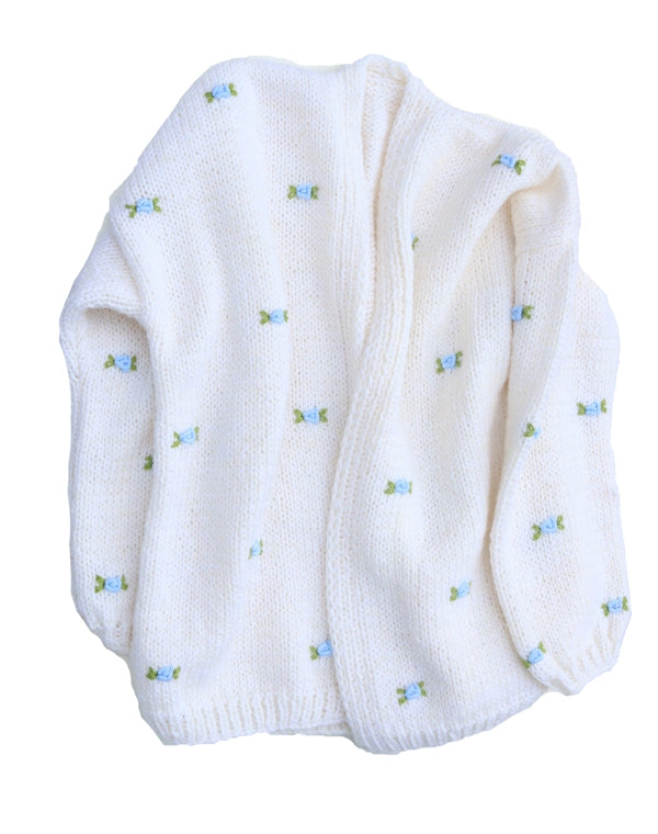 Fanm Mon WINTER BLOOM 100% Wool Winter/Autumn Cardigan with Light Blue Roses with Green Leaves Embroidery
