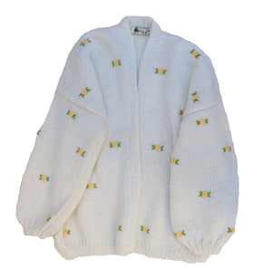 Fanm Mon WINTER BLOOM 100% Cotton Winter/Autumn Cardigan with Yellow Green Embroidery