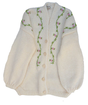 Fanm Mon JASMIN BLOOM Winter/Autumn WOOL Cardigan CREAM with White Green Yellow Embroidery and BUTTONS