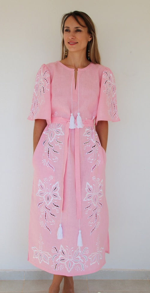 Fanm Mon Pink Linen White Embroidery Cut Out Vyshyvanka MIDI Dress size XS-XXL MD0107