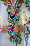 Fanm Mon White Cotton Dress Multi-Color Ari Embroidery Mini Kaftan Pink Brown Shell SIZE SMALL