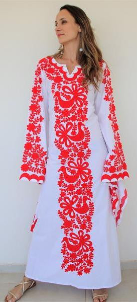 Fanm Mon Red Silk Embroidery White Linen Maxi Dress Red Shell.