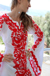 Fanm Mon Red Silk Embroidery White Linen Maxi Dress Red Shell