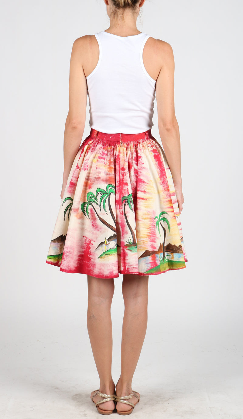 Fanm Mon Hand Painted Linen White Pink Color Island Coconut Tree Summer Skirts HPSS175