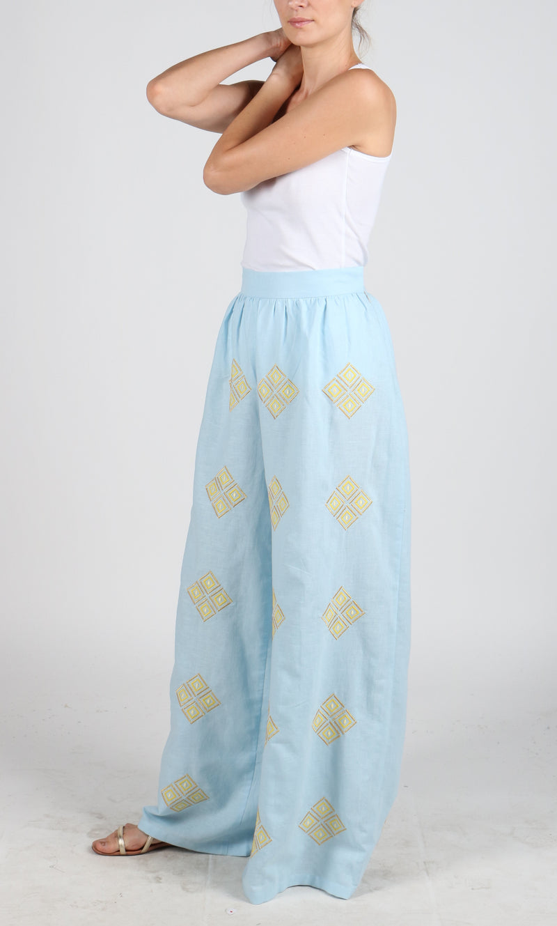 Fanm Mon SKY Vyshyvanka Pants Embroidered Sky Blue Linen Yellow Embroidered Pants