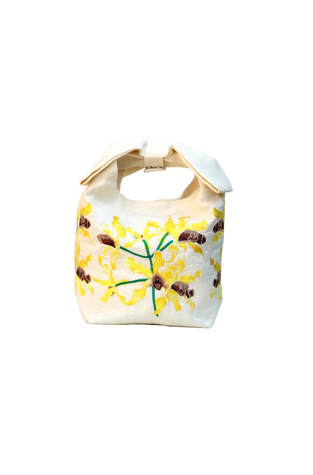 Fanm Mon Lakou Cream Yellow Wild Orchid Embroidered Linen Handbag