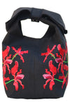 Fanm Mon Orkid Black Red Wild Orchid Embroidered Linen handbag