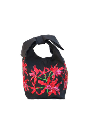 Fanm Mon Etwal Dark Blue Pink Embroidered Linen Handbag