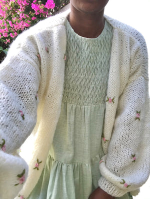 Fanm Mon WINTER BLOOM 100% Wool Winter/Autumn Cardigan with Pink Green Embroidery