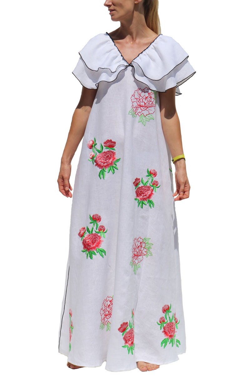 White Long Linen Dress with Red Floral Embroidery