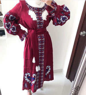 Fanm Mon Burgundy Vyshyvanka Heart Dress Embroidered
