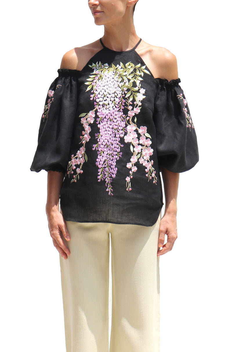 Black Linen Blouse with Purple Lilac Flower Embroidery Off Shoulder