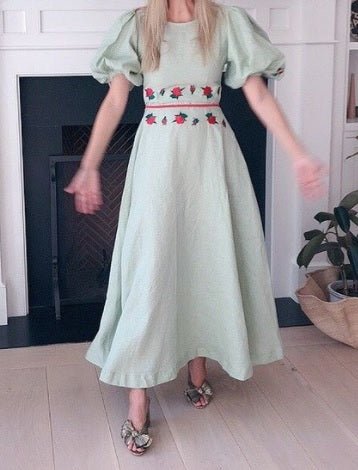 FANM MON DATCHA Mint Green Linen Dress with Embroidery