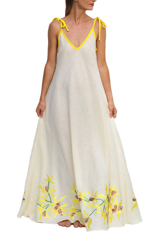 FANM MON Detay Yellow Ruffled Embroidered Midi Linen Dress
