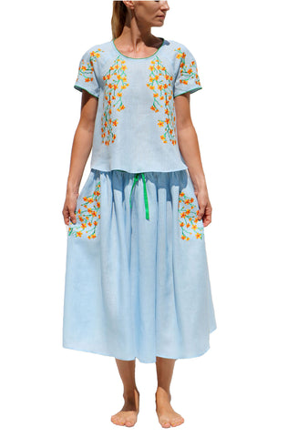 FANM MON Rose Teal Blue Pink Lilly Embroidered Linen Dress