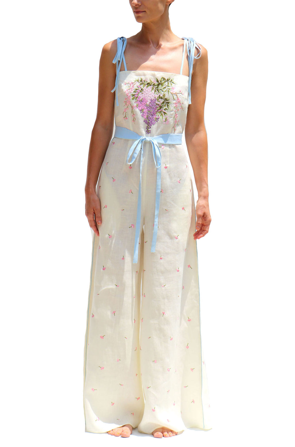 Cream Linen Jumpsuit with Pink Embroidery Bow Straps