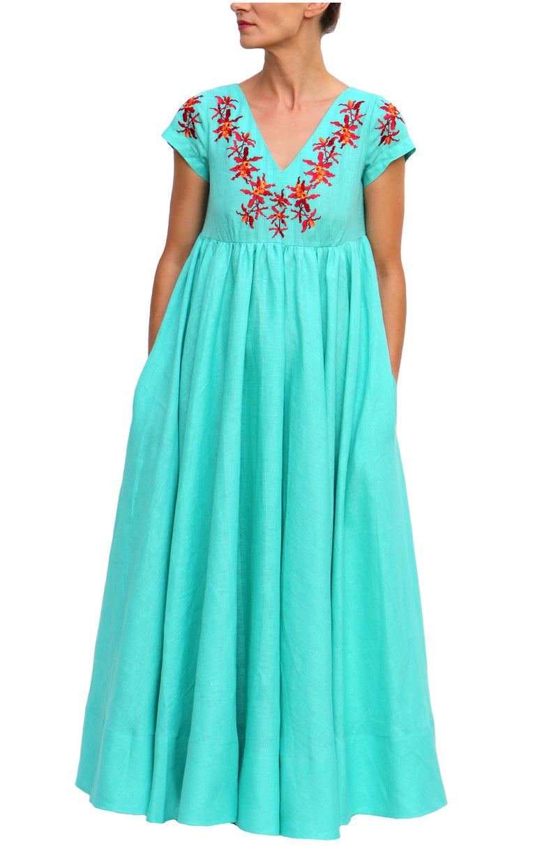 Turquoise Linen Maxi Dress with Red Flowers Neck Embroidery V Neck Dress