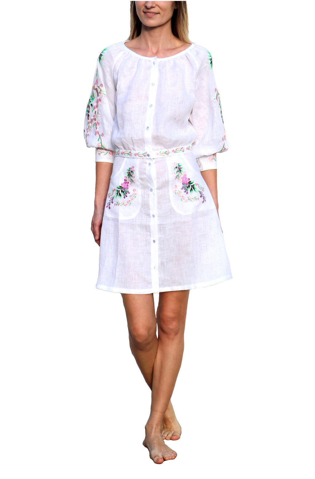 FANM MON Mimose 2 Piece White Embroidered Linen Skirt Set