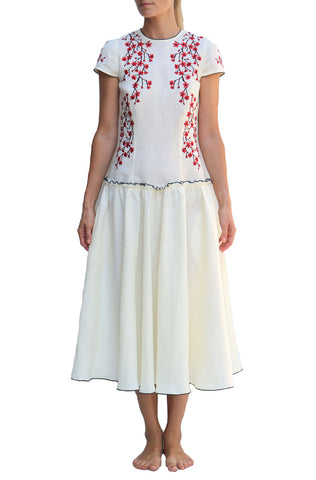FANM MON Ibole Pink Lilly Embroidered White Linen Dress