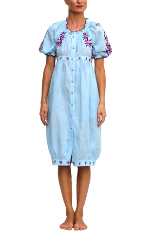 FANM MON Marassa Long Pink Red Embroidered Linen Dress